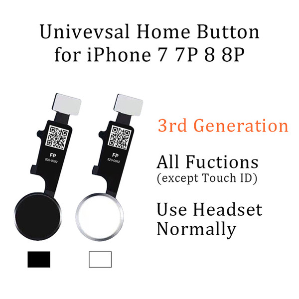 Universal Home Button Flex for iPhone 7 8 Plus Return Home Function Solution 3rd Generation Black White Gold RoseGold Free Ship