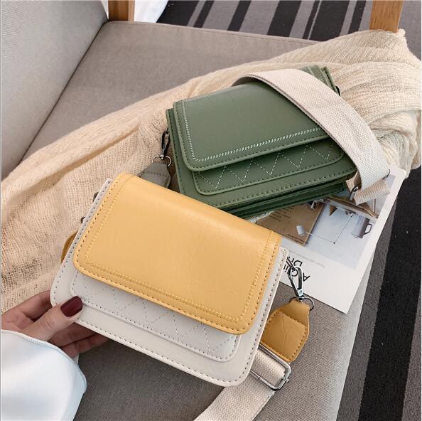 Yeni küçük çanta kadın 2019 yaz yeni dalga vahşi Messenger versiyonu Kore çanta geniş omuz askısı omuz renk kare küçük çanta