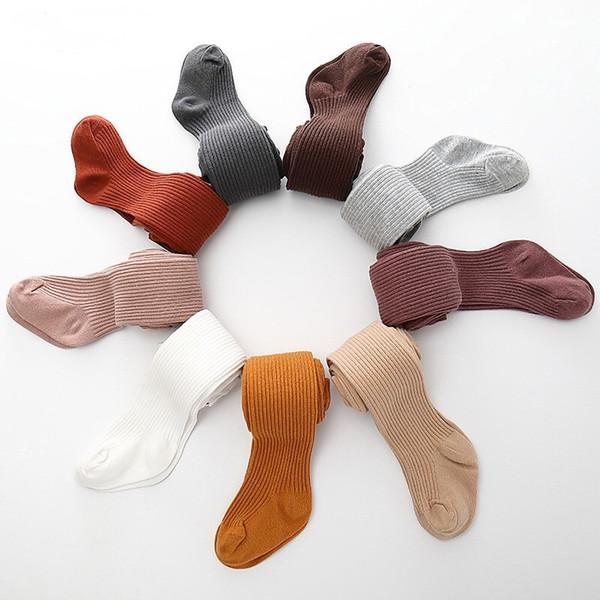 I più nuovi INS Kids Autunno Inverno Leggings lavorati a maglia Tinta unita Leggings per bambini Pantaloni casual Collant Pantaloni Leggings a coste sottili