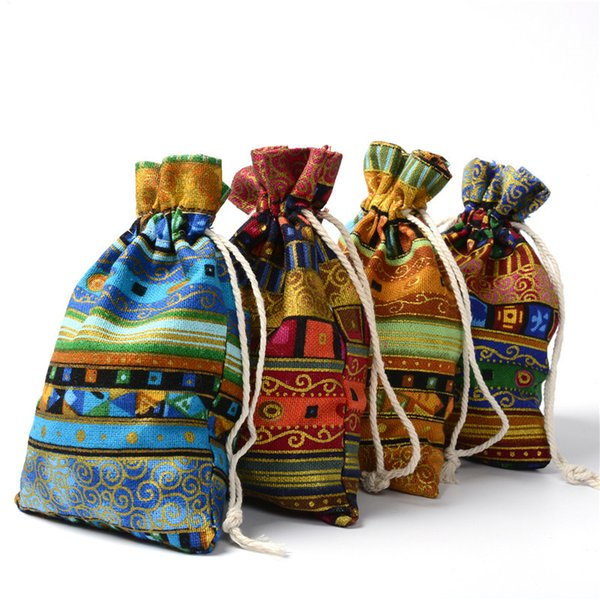 Vintage Drawstring Gift Bag Party Favors 4*5inch 5*7inch 6*8inch Durable Cotton Linen Jewelry Cosmetic Candy Pouch Small Coin Cloth Bag