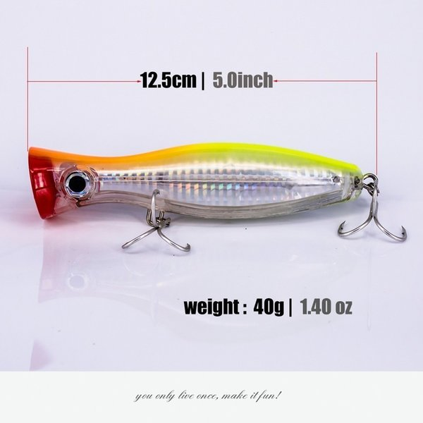 Best 12cm 42g Hard Lure Big Popper Lure 4 Colors Top Water Fishing Lures Popper Lure Crankbait Minnow Swimming Crank Baits Pesca