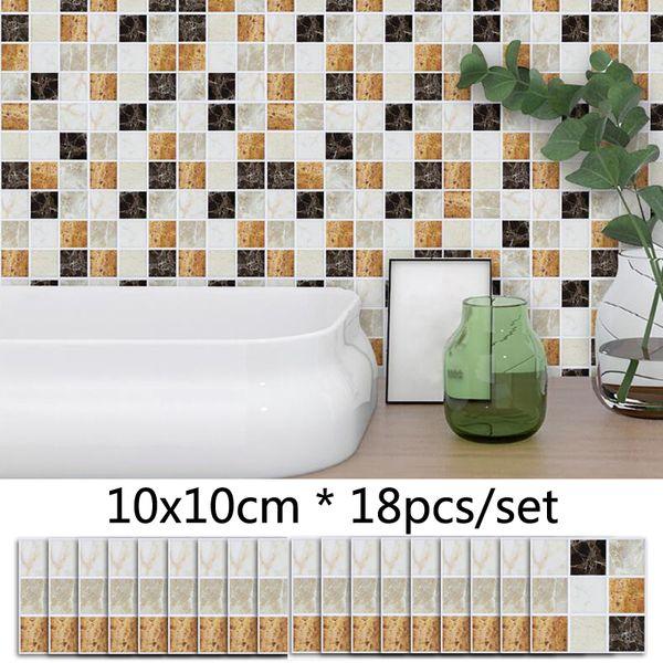 Marble Brick Mosaic Wall Sticker Matte Tile Stickers Bathroom Waistline Sticker Waterproof Removable Kitchen DIY Wall Stickers Decals