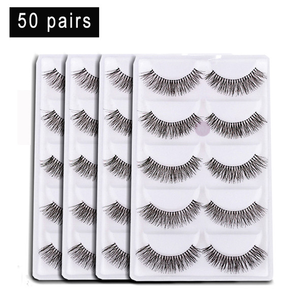 50 Pairs/lot Natural Sparse Cross Eye Lashes Black Handmade Long False Eyelashes Extension Makeup Tools