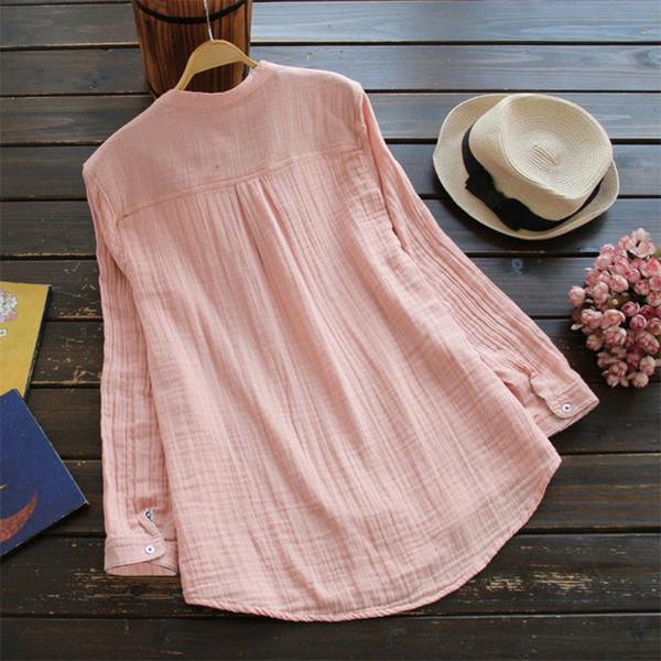 Bayan Yaz Sonbahar Pamuk Üst Gevşek Rahat Gömlek Bayanlar Uzun Kollu harajuku Bluz vintage Hipster blusa feminina Artı Boyutu