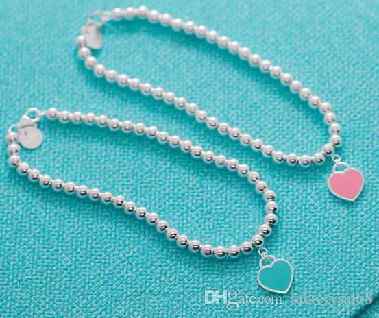 2018 Hot style Sterling Silver Blue Enamel Heart-shaped Round Buddha Beaded Bracelet Women's Ornament free shipping
