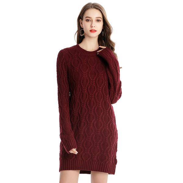 2019 Automne Hiver Femmes Pull À Tricoter Pull Plus La Taille Femmes Vêtements Office Lady Streetwear Sautoirs Longs Jersey Robe