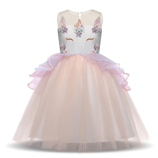 Beautiful Flower Girl Dresses 2018 Gauze Tulle Knee Length Kids Prom Dresses Pageant Dresses