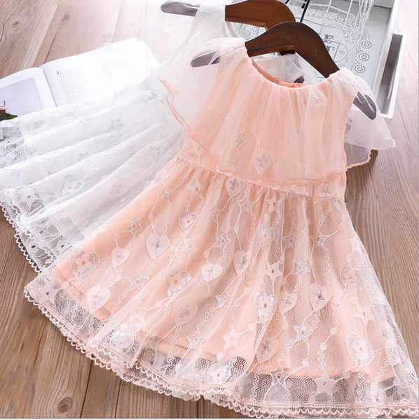 Girls lace tutu dresses summer kids gauze floral love heart stars embroidery party dress 2019 children lace falbala princess dress Y2231