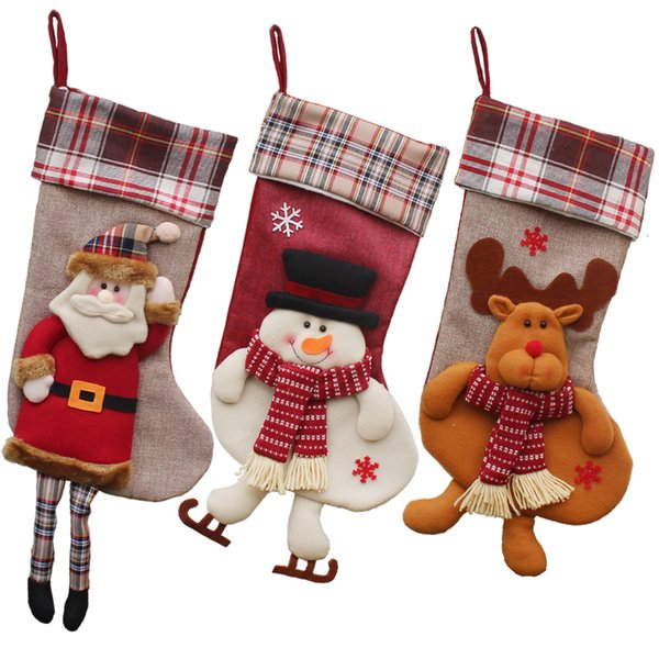 Plush Toy Christmas Stockings Long Leg Santa Claus Xmas Stockings Mall Shop Show Window Decoration Xmas Stockings 1 Piece ePacket
