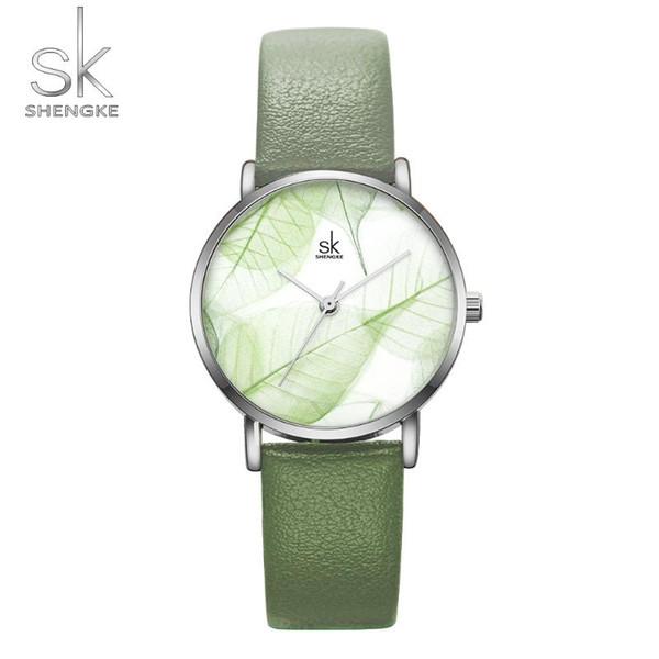 Shengke 2020 Kadınlar İzle Yaratıcı Kol Yeşil Yaprak deseni Ultra İnce Lüks Saatler Kronometre Kuvars saatı Feminino