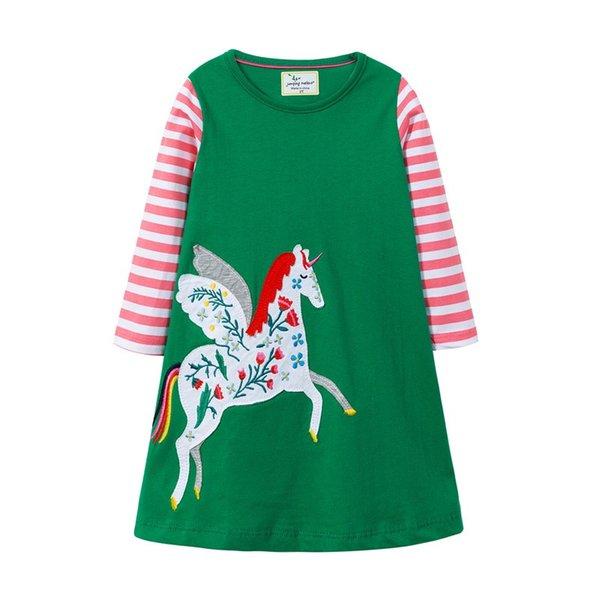Newest Fly Horse Girls Dress Full Long Sleeved Spring Summer Children Girls Unicorn Designer Pocket Fire Balloon Embroiderd Cotton Dresses