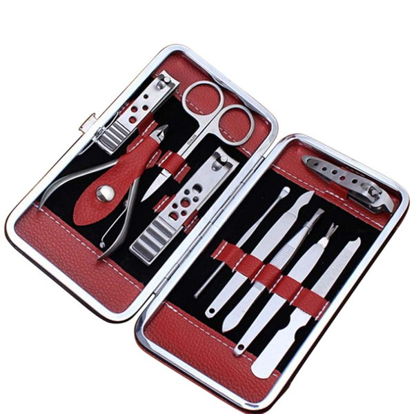 10 Pcs Pedicure Manicure Set Nail Clippers Cleaner Cuticle Grooming Kit with Case For Women Men Nail Care Tool FM88