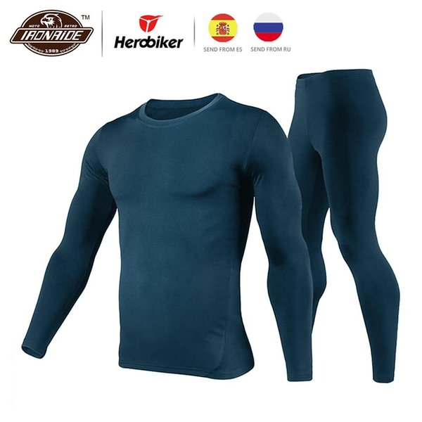 Herobiker Men Motorcycle Jacket Winter Moto Jacket +Pants Fleece Lined Thermal Underwear Set Skiing Suit Winter Warm Clothing