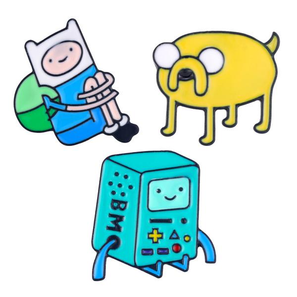 New Cartoon Figure Pin Spille Finn and Jake Il simpatico smalto per cani Badge per bambini Accessori per gioielli regalo