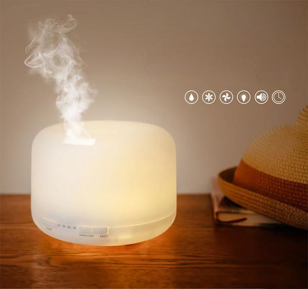 500 мл 7Color LED Круглый увлажнитель с ароматической лампой Эфирное масло Ультразвуковой электрический USB Ароматический диффузор Увлажнитель воздуха Великобритания / США / ЕС Штекер оптовый