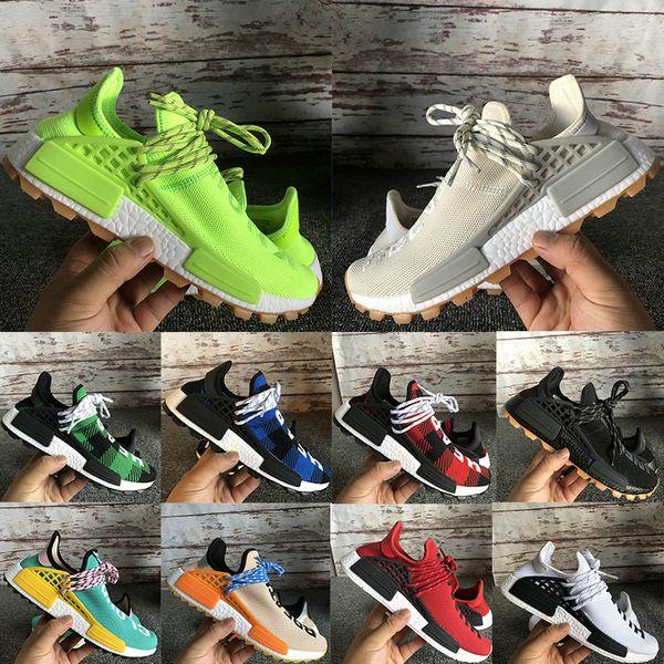 NMD Human Race знает душу дыхание, хотя дизайнер мужской обуви Pharrell Williams Hu Solar пакет многоцветных мужчин женщин спорт кроссовки