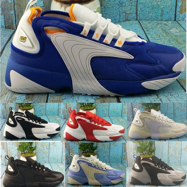 Acheter Nike Zoom 2K 2019 Nouveau Zoom 2K Voile Blanc Noir Marine Orange Hommes Sports De Plein Air Chaussures Années 90 Style De Basketball M2k Tekno