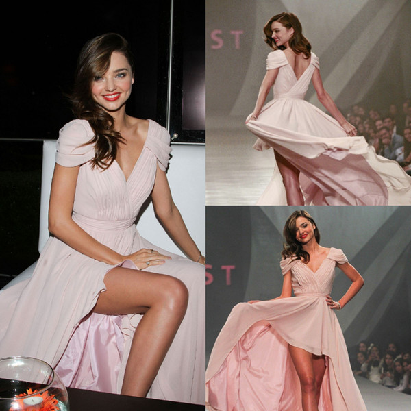 Fitted High low Celebrity Prom Dresses Cap Sleeves Front Short Back Long Chiffon Formal Cocktail Party Gowns 2019 Sexy Dresses Evening Wear