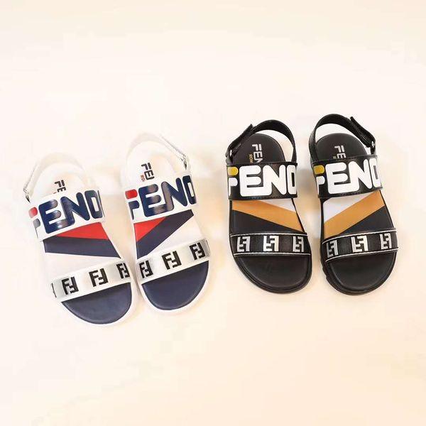 Sandalia infantil para niño modelo de letra F, sandalias de playa, sandalias de playa, color negro, zapatos de color blanco con caja
