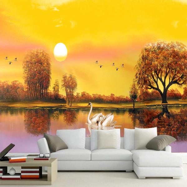 Natürliche Sonnenuntergang Landschaft Wandbild Tapete Gold Sonnenschein Stoff Malerei HD Muster zurück fallen Wohnzimmer Schlafzimmer Studie Ältesten Zimmer Wanddekor