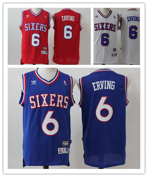 f889c2ad Retro Mens 6 Julius Erving Philadelphia Jerseys 76ers Basketball Jerseys  Stitched Hardwood Classic Mesh Julius Erving