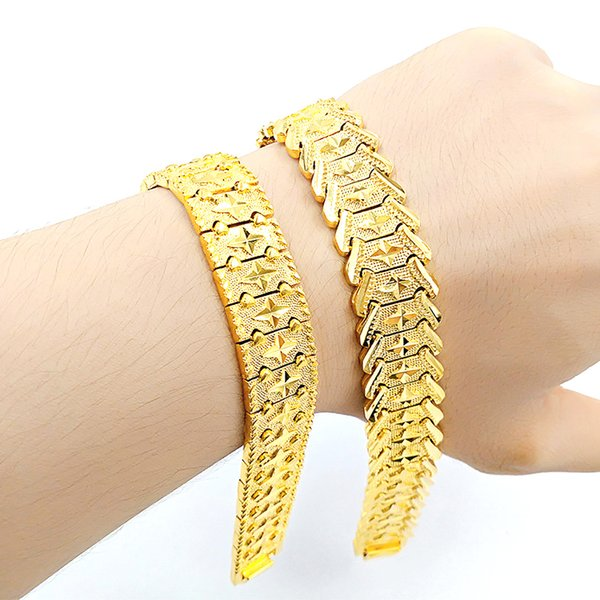 24K Men's Fashion Brass Gold-plated Jewelry Bracelet Long-lasting Non-fading Sand Gold Jewelry Wholesale and Retail Sales