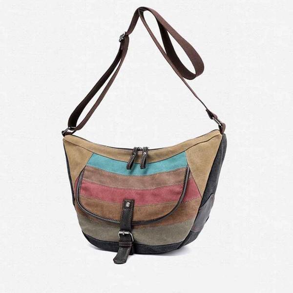 New Multi Functional Messenger Shoulder Bag Casual Canvas Versatile Color Collision Women Female Hand Bags Crossbody Handbags