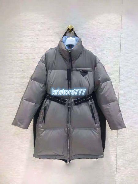 de las mujeres de lujo Diseño Escudo de nylon Puffer Parka capa de la chaqueta La Pista gama alta niñas personalizados Milán Muestra del triángulo abajo de la chaqueta larga Outwear SML
