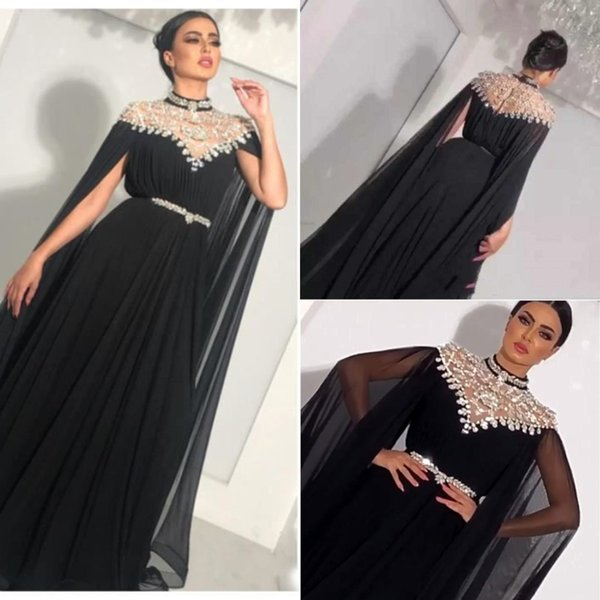Zuhair Murad High Neck Evening Dresses Black Crystal Beaded Chiffon Saudi Arabic Dubai Luxury Prom Formal Gowns With Sleeve for Women party