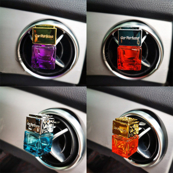 best selling Fashion Car Air Freshener Car Perfume Clip Fragrance Empty Glass Bottle Auto Air Conditioner Vent Outlet Essential Oils Diffuser Ornaments