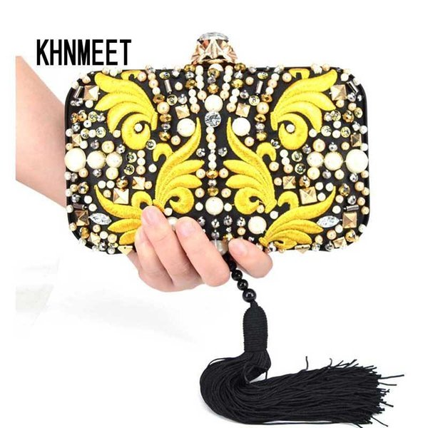 New Embroidery Women Bag Lady Designer Chain Handbag Fashion Tassel Clutch Bags Black Beaded Evening Purses Banquet Bags X71