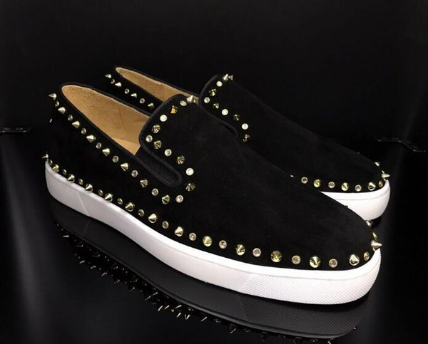drop shipping casual New! Fashion Sneakers for men with Spikes loe Top Casual Skateboarding Shoes red mens Dress Shoes 7SJK