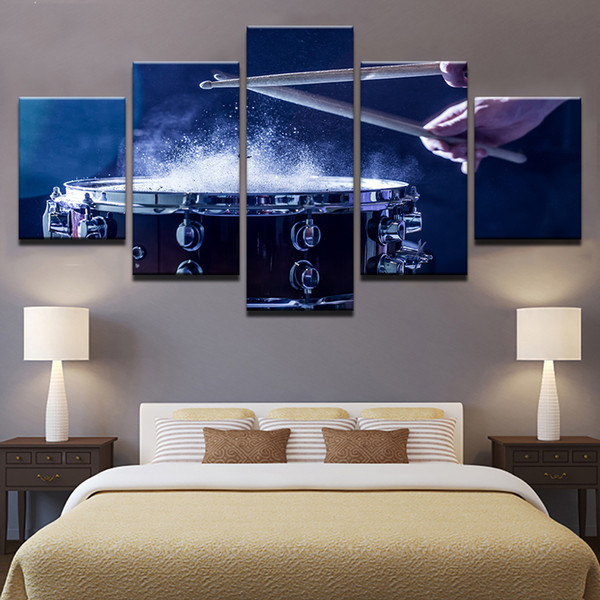 HD Printed Wall Art Poster Home Decoration 5 Panels Music Play The Drums Living Room Painting Modular Pictures Canvas Unframed