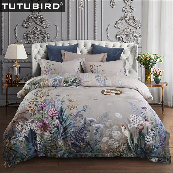 TUTUBIRD-European Egyptian cotton bed linen Soft Satin bedding floral pastoral duvet cover pillowcases bedspreads 4pcs sets