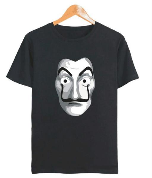 Черная мужская футболка La Casa De Papel с коротким рукавом - Мужская футболка Dali Mask