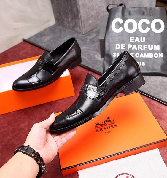 Mode New Affaires commerciales formelles de mariage d'affaires Chaussures Hommes Lazy Flats Mocassins réel respirante Noir