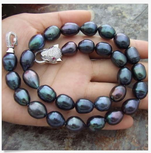 """1 SET AAA++11- 13MM NATURAL SOUTH SEA BLACK PEARL NECKLACE 18""""+ BRACELET 7.5"""""""