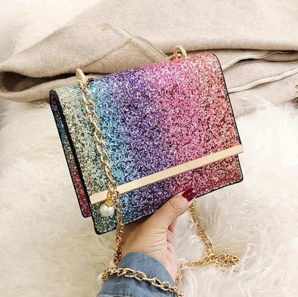 Gradient Sequin Petit sac carré 2019 Mode Nouvelle Qualité En Cuir PU Designer Designer Sac À Main Perle Chaîne Épaule Sac Messenger