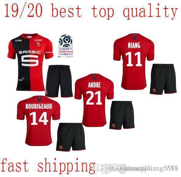 homens novo Stade Rennais definir camisas de futebol Início 2019 camisa 2020 Rennes maillot de pé Sarr Niang Bourigeaud Andre kit adulto Hunou futebol