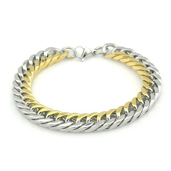 2019 Stainless Steel Men Bracelet Gifts Boy Male Cuban Link Chain On Hand Chain Personalized Mens Bracelets Hippie Rock Style