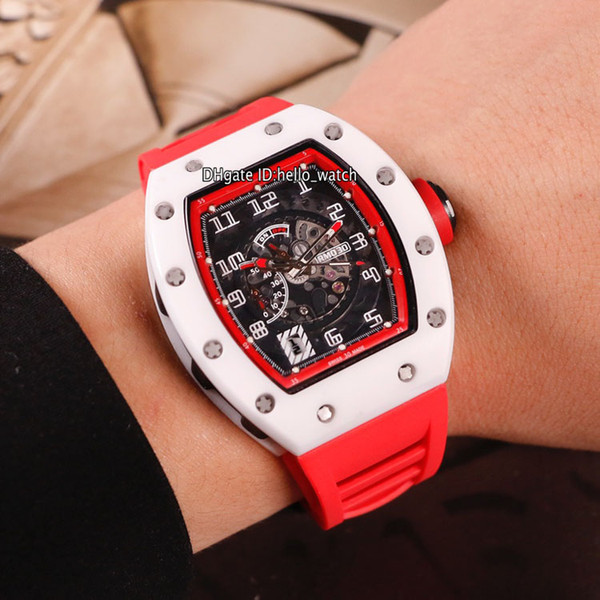 New White Ceramic Case RM030 Big Date Black Dial Miyota Automatic Mens Watch 030 Red Inner Red Rubber Strap Gents Sport Watches Hello_watch