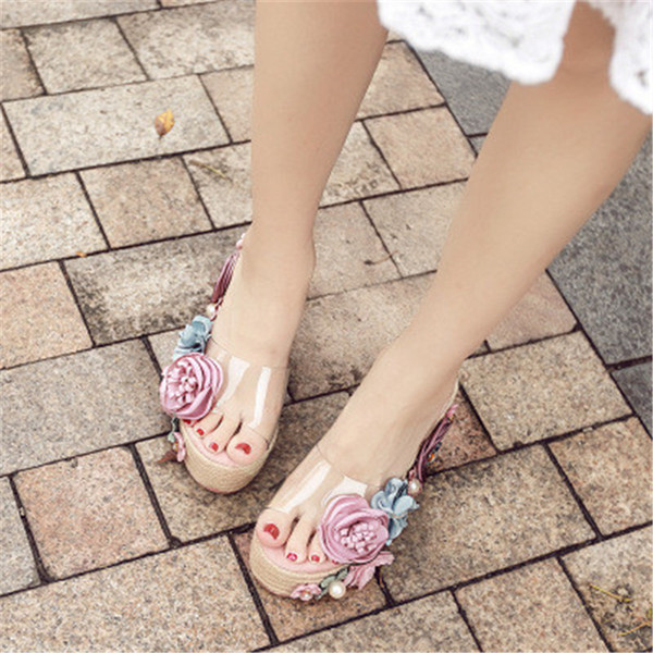 2018 Summer Fashion Girl Sandals Flower Pearl Platform Shoes Women PVC Casual Wedges Female Slides Clear Transparent