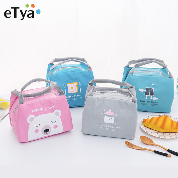 eTya Cartoon Cute Lunch Bag For Women Girl Kids Children Thermal Insulated Lunch Box Tote Picnic Bag Milk Bottle Pouch