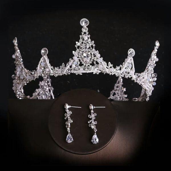 2018 neue stil braut tiara barock braut tiara hochzeitskleid zubehör gold tiara halskette ohrringe set