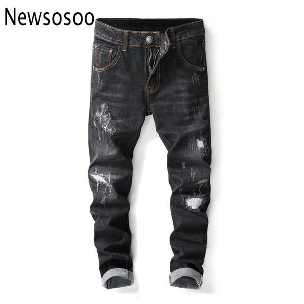 Avrupa Amerikan Tarzı Çapraz desen Yıkama Yama Dilenci Eklenmiş Kot düz ince siyah Kot Erkek Düz Pantolon