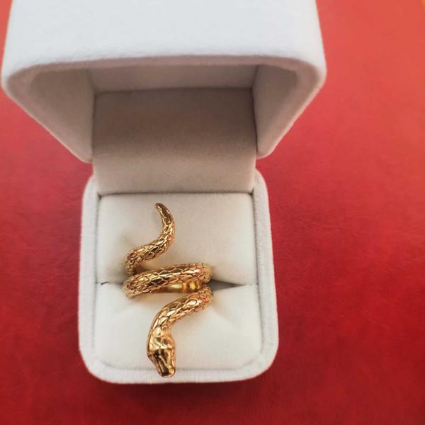 Cobra Modelo 18K Anillo punky chapado en oro para hombres 12g Chapado en plata Diseñador de lujo Hip hop Joyas Talla 7 a 12 Anillos de serpiente con caja helados