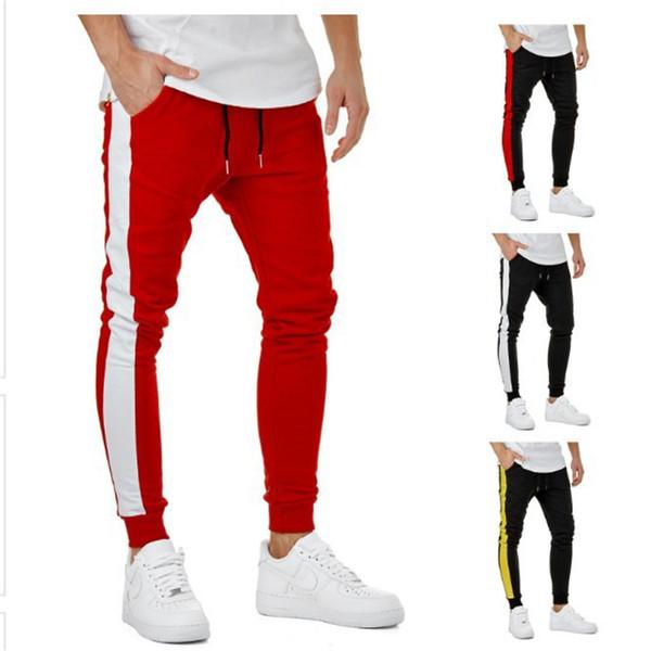 Homens corredores calças calças de algodão homens calças lápis moda patchwork calças mens corredores hip hop calças homens sweatpants jogger