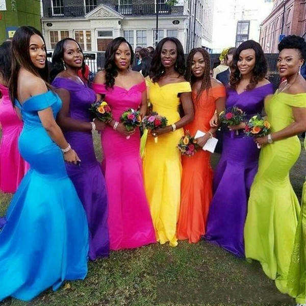 7 Color Bridesmaid Dresses Modern African Style For Nigerian Maid Of Honor Gowns Formal Wedding Party Guest Dress vestidos de fiesta BC2109