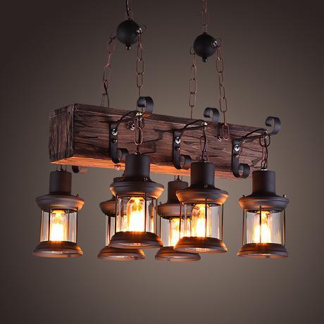 Lampada a sospensione loft vintage in ferro battuto paralume in vetro Lampada da cucina a sospensione a sospensione abajour LLFA