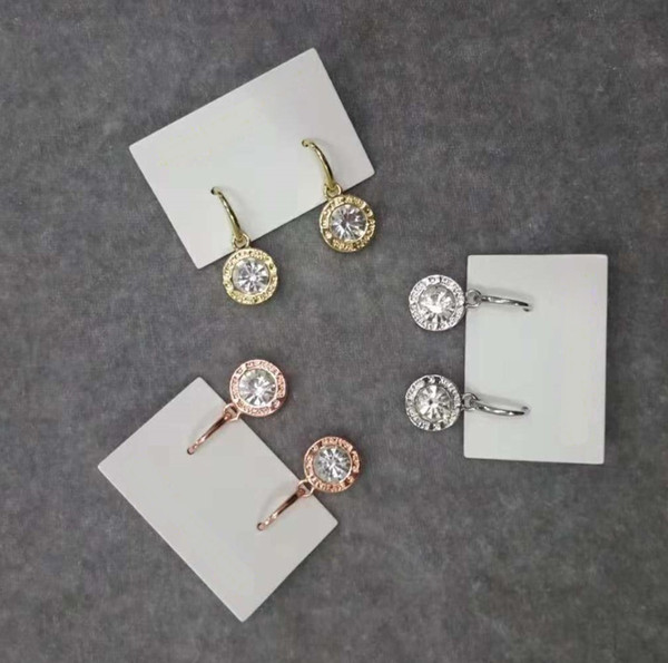 best selling New York Designer Earrings Fashion Crystal Drop Earrings with Logo Big Diamond Alloy Jewelries Cheap Famous Designer Jewelries Women gifts